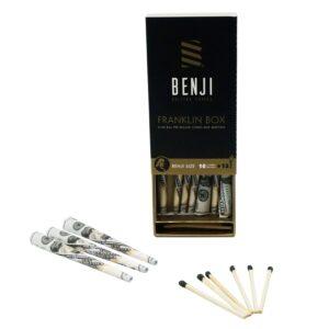 Benji franklin box, abierta con conos y fosforos