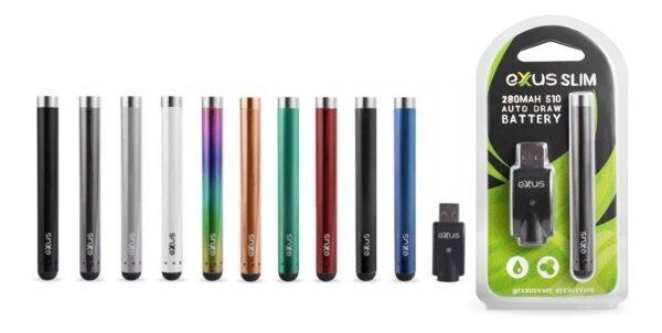 Exxus slim auto draw cartridge vaporizer equipos de varios colores visto de fretne