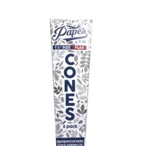 Paquete de 6 conos flax prerolados tamaño 1 1/4 de la marca papes